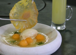 Cold melon and mint soup with banana ice cream