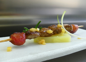 Lacquered lamb sweetbread skewer
