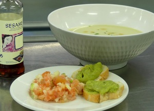 Vichyssoise with salmon tartar, tomato, granny smith  and guacamole toast