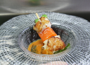 Monkfish and pumpkin skewers with American sauce