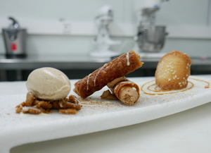 Pinion rolls filled with hazelnut mousse and cinnamon ice cream