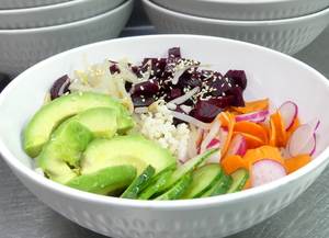 Vegans poke bowl  with avocado and beet with integral rice