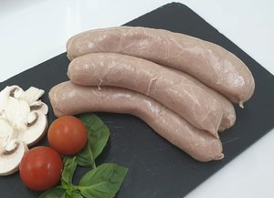 White poultry sausages