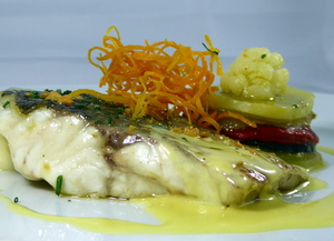 Roasted sea bass with safron sauce