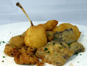 Assorted-fried items  (brain, sweetbreads, lamb spare ribs, veal tongue, veal testicles and croquettes)