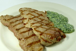 Grilled pork tenderloin with spinach cream