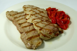 Grilled pork tenderloin with red pepper stew