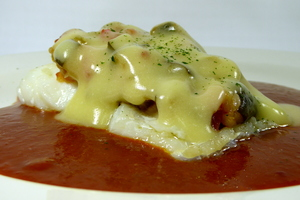 Cod confit with pisto (Onion, green pepper, tomato and courgette stew) and Biscayne sauce
