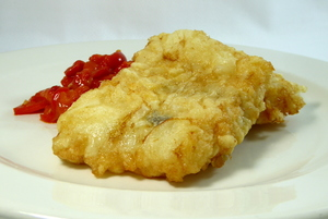 Battered cod with red peppers