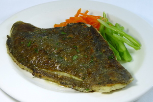 Grilled turbot with mixed vegetables