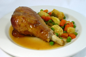 Braised turkey thighs with mixed vegetables