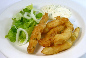 Battered hake sticks with Tartarian sauce