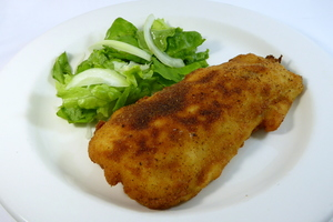 Villaroy chicken breasts with salad