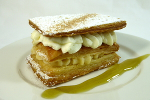 Puff pastry, whipped cream and cream patissiere millefeuille.