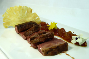 Roasted iberian pork with lukitxene style chutney