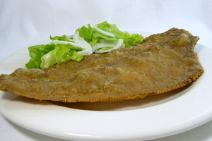 Fried flounder with lettuce salad