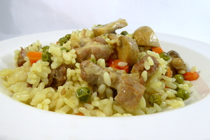 Rice with pork and mushrooms