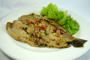 Roasted trout with salad