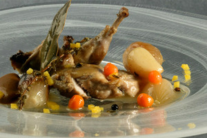 Quail and vegetables marinated with black plum purée
