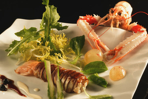 Langoustine and cep mushroom salad on smoked fish variety