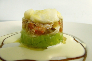 Warm cod and avocado salad