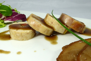 Organic chicken cep mushrooms and foie gras galantine salad