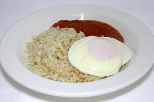 Cuban style rice (white rice with tomato sauce fried banana and eggs)