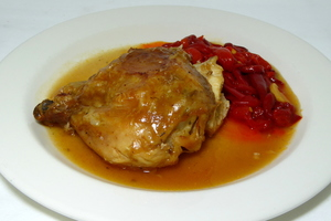 Roast chicken with tomato and red pepper stew