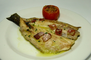 Roasted trout with baked tomatoes