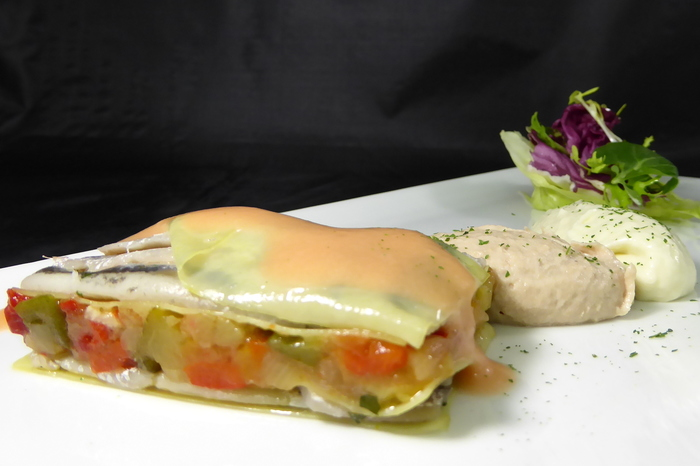 Cold lasagna filled with anchovies and vegetables with an albacore mousse