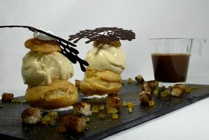 Chouquettes with ice cream and spiced bread, bitter orange jam, chocolate and Chantilly shot