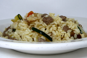 Sauteed rice with veal and vegetables