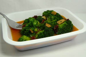 Broccoli, pumpkin cream and dried tomatoes