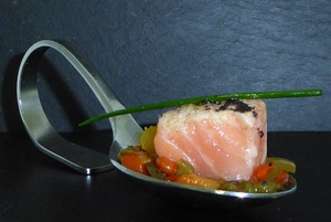 Marinated salmon with ratatouille