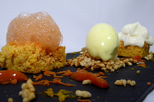 Carrot cake, coconut and curry ice cream and puffed rice