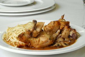 Marengo chicken stew with spaghetti