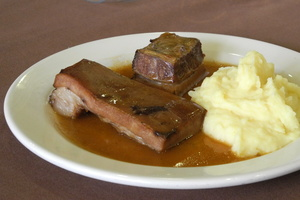 Low temperature roasted veal flank with creamy mashed potatoes