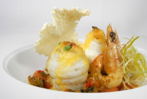 Grilled sole 'paupiettes' with prawns
