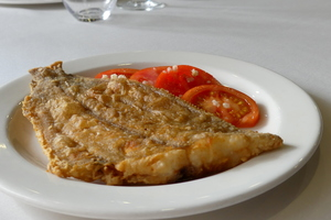 Fried flounder with tomato salad
