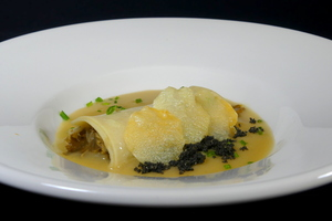 Chanterelle mushrooms cannelloni with coconut vichyssoise