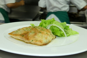 Grilled perch with salad