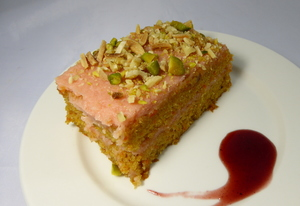 Carrot cake with guava frosting