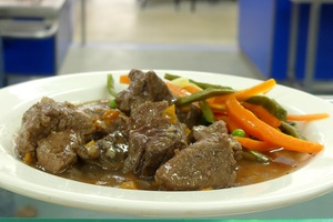 Bourgignon beef stew with mixed vegetables in sticks