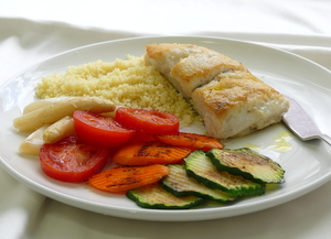 Grilled hake with couscous and grilled vegetables