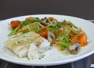 Grilled whiting with pasta and vegetable wok