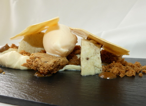 Mango's sorbet, semolina pudding, Chai tea's biscuit and white chocolate
